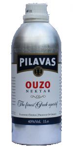 Pilavas Ouzo Nektar 40% 1000ml in stylischer Alu Flasche