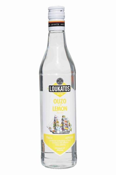 OUZO Loukatos mit Zitrone 43% 700ml Flasche
