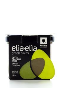 Elia-Elia griechische grüne Olivenpaste im Glas...