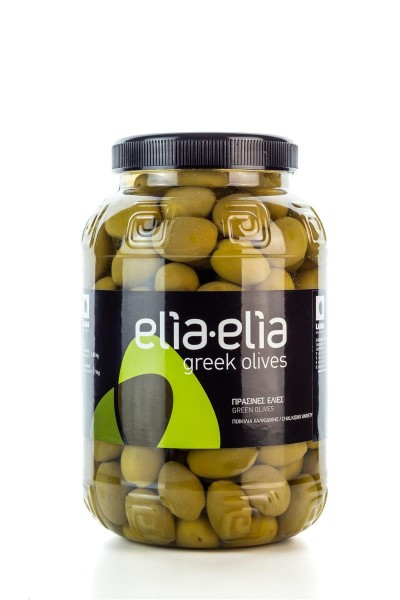 Elia-Elia grüne griechische Chalkidiki Oliven Extra Jumbo im Pet-Fass 1 KG