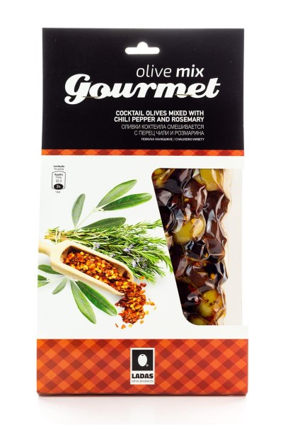 Oliven Mix Gourmet gemischte, mit Chili-Pfeffer und Rosmarin marinierte griechische Cocktail Oliven vakuumiert (250 g)