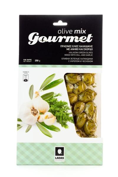 Oliven Mix Gourmet grüne, mit Dill und Knoblauch marinierte, griechische Chalkidiki Oliven, vakuumiert (250 g)