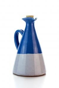 Original handgemachte Keramik Olivenöl Kanne von der Insel Kreta - blau weiß von Hydria
