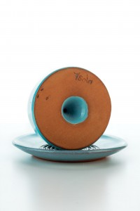 Set Hydria Original handgemachter Keramik Salzstreuer inkl. Unterteller von der Insel Kreta - türkis