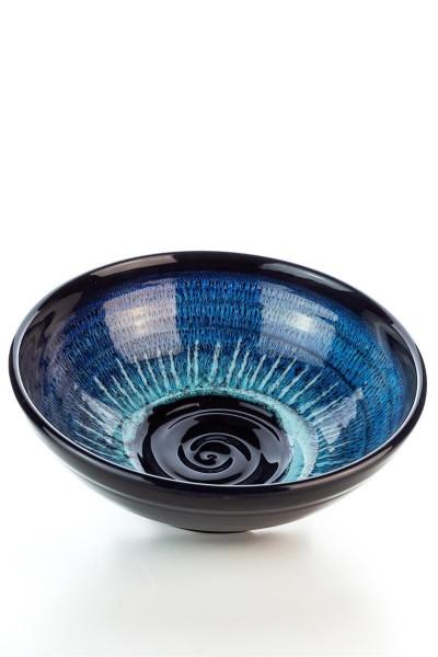Hydria Original handgemachte Schale Spirale Nr. 2 von Kreta - schwarz blau d=22 cm