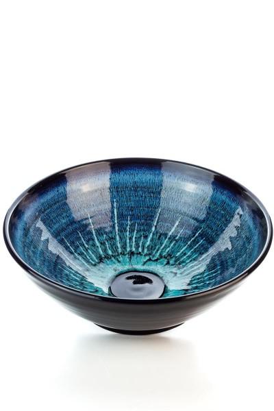 Hydria Original handgemachte Schale Nr. 3 von Kreta - schwarz blau