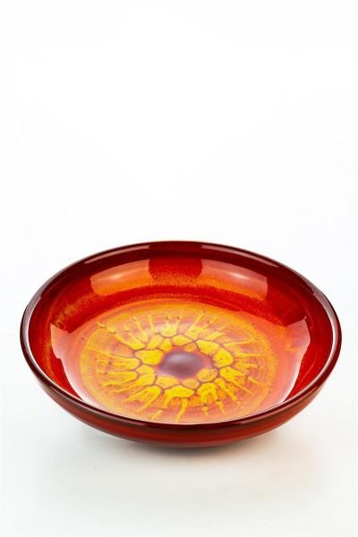 Hydria Original handgemachte flache Schale 27cm von Kreta - orange rot