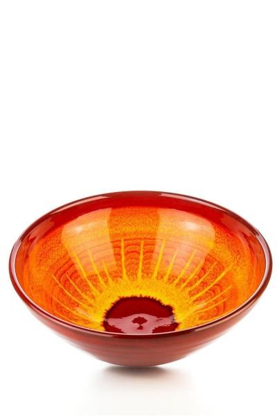 Hydria Original handgemachte Schale N. 2 (22 cm) von Kreta - orange rot