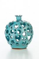 Hydria Original handgemachter Granatapfel Teelichthalter groß von Kreta - türkis