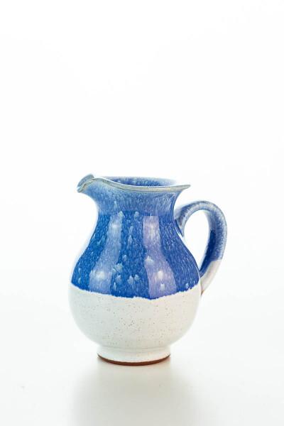 Hydria Original handgemachtes Keramik Milchkännchen von Kreta klein - blau weiß