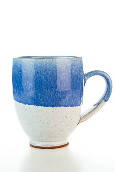 Hydria Original handgemachte Keramik Tasse Oval XXL von Kreta - blau weiß