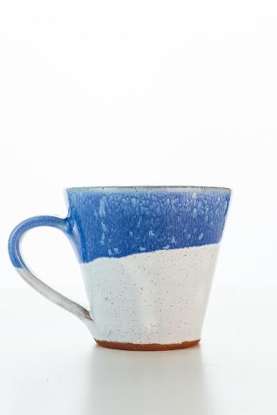 Hydria Original handgemachte Keramik Mokka Tasse von Kreta - blau weiß
