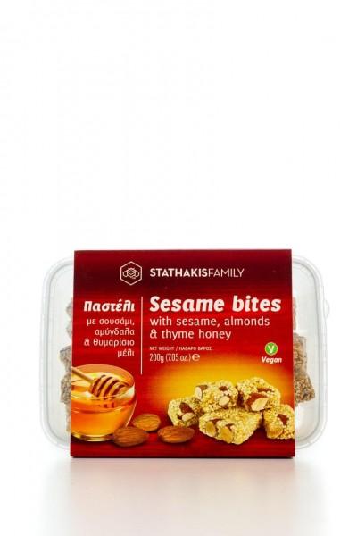 Sousaminia Pasteli Bites mit Thymian Honig, Sesam, Mandeln und Zimt 200g