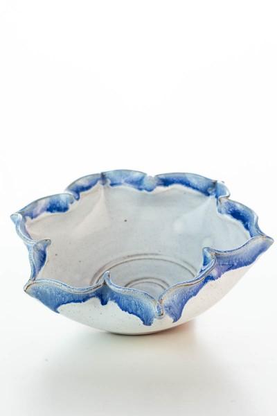 Hydria Original handgemachte Schale Blume Groß von Kreta - blau weiß