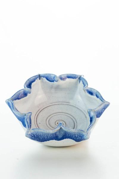 Hydria Original handgemachte Schale Blume klein von Kreta - blau weiß