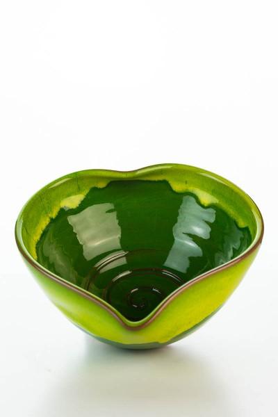 Hydria Original handgemachte Schale Herz mittel von Kreta - grün