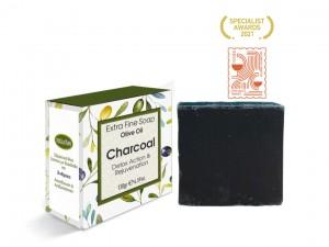 Extrem feine Seife mit Olivenöl und Holzkohle 130gr