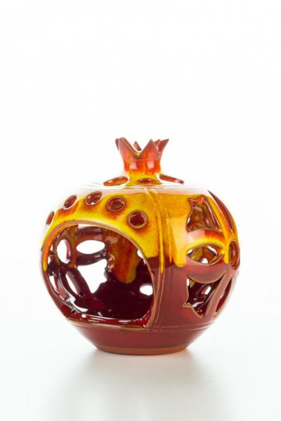 Hydria Original handgemachter Granatapfel Teelichthalter mittel von Kreta - rot