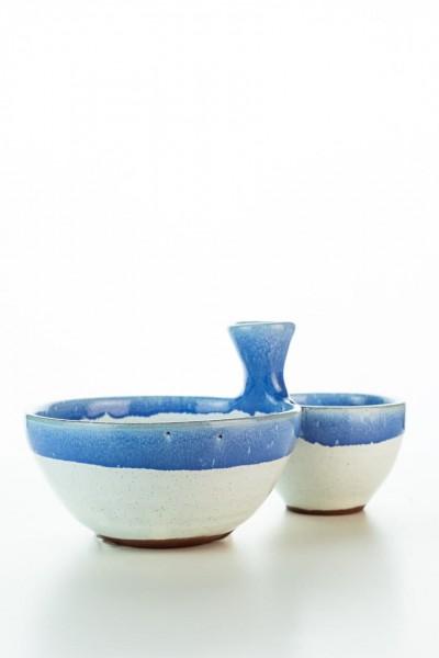 Hydria Original handgemachte Schale für Oliven von Kreta - blau weiß